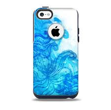 Blue Water Color Flowers Skin for the iPhone 5c OtterBox muter