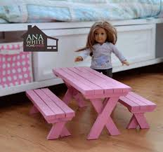 ana white build a doll x picnic table and bench set free and