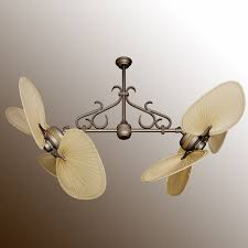 Ceiling Fan With Palm Leaf Blades twin star iii double ceiling fan antique bronze with many blade
