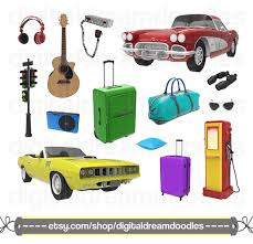 Travel Clipart Gas Station Clip Art CB Radio Graphic Road Trip Adventure Image Cruiser Classic Car Srapbook Digital Download From
