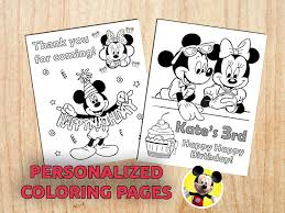 Mickey Minnie Mouse Birthday Party Coloring Pages Personalized Favor Printable Digital PDF