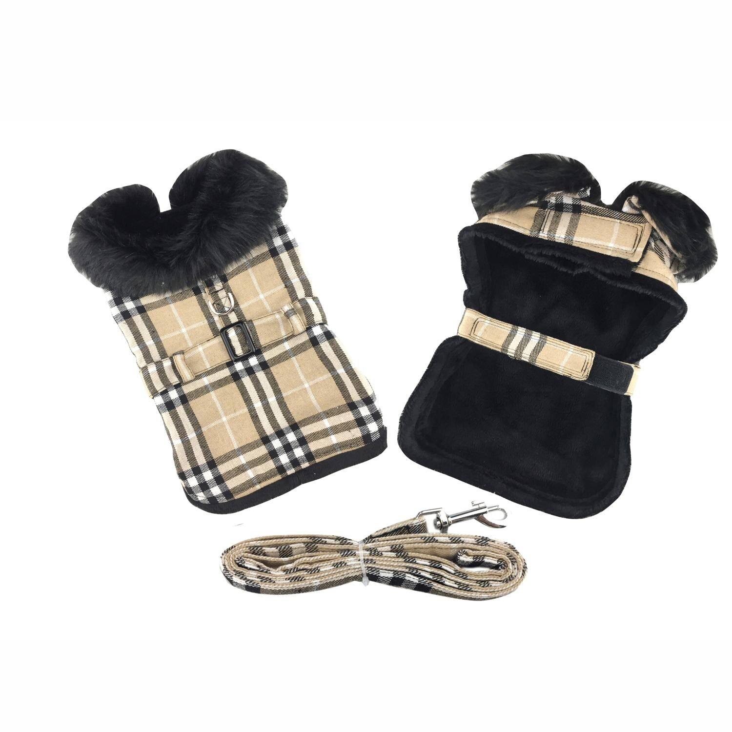 Brown Plaid Classic Dog Coat Harness with Matching Leash, X-Large
