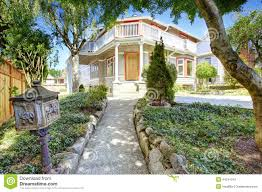 Beautiful Porch Of The House by House Entrance Porch With Walkway And Beautiful Landscape Stock