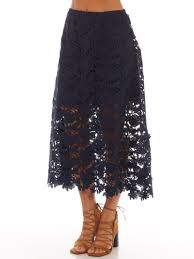 keepsake say my name lace a line midi skirt in navy