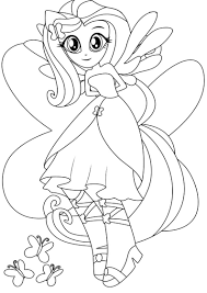 My Little Pony Equestria Girl Coloring Pages Fluttershy