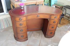 Vintage Kidney Shaped Desk with Leather Top by RetroDaisyGirl
