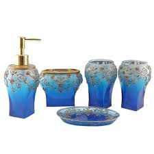 Royal Blue Bathroom Decor by Dark Blue France Royal Bathroom Accessory Floral Vase Design Soap