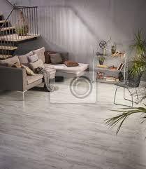 fototapete dekoration wohnzimmer moderne wohndesign holztreppe grau sofa