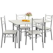 casaria esstisch küchentisch mit 4 stühlen esszimmergruppe essgruppe küche tisch stuhl set farbe weiß
