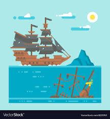 100 Design A Pirate Ship Flat Design Pirate Shipwreck