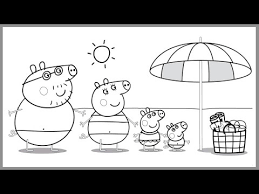 Peppa Pig Family At The Beach Coloring Book Pages Kids Fun Art Activities Video For