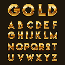 Golden 3D Fonts Vector