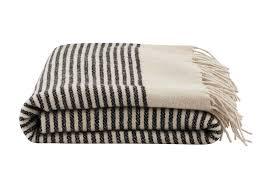 plaid noir pour canapé plaid en avec franges et rayures noir et blanches de house