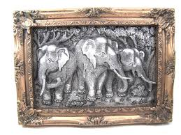 Thai Elephant Embossed Metal Handicraft Gift Souvenir Frame Hand Made 1 Of 8Only Available