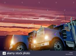 100 Concept Semi Trucks Two American Large In Sunset Illustration Trucking