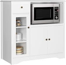homecho mikrowellenschrank kommode sideboard küchenschrank mit 1 schubladen 2 türen 3 fächern küchenbuffet mit linienloch beistellschrank