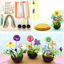 Quilled Paper Art Flower Pot Plant Color Potted Craft Tool Set Easy Quilling Designs