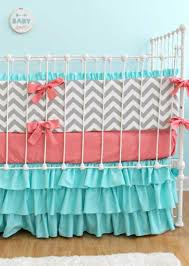 Coral Colored Bedding by Nursery Beddings Coral Aqua And Grey Baby Bedding Plus Coral