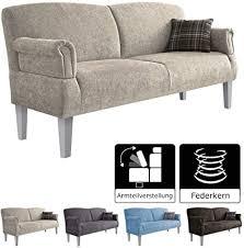 cavadore 3 sitzer sofa pasle mit federkern für küche esszimmer küchensofa essbank im modernen landhausstil verstellbare armlehnen holzfüße
