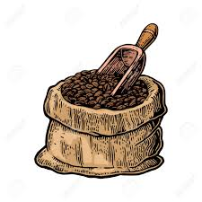 Sack With Coffee Beans Wooden Scoop Hand Drawn Sketch Style Vintage Color Vector