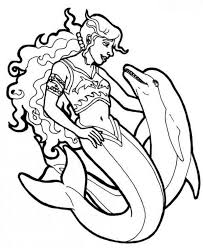 Mermaid Warrior With Her Dolphin Coloring Page