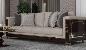 casa padrino luxus deco sofa hellgrau dunkelbraun hochglanz gold handgefertigtes massivholz wohnzimmer sofa mit edlem samtsoff luxus
