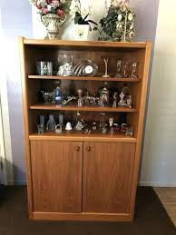 Hutch Shelf Walnut Wood And Glass Dining Room Display
