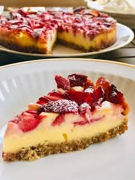 zuckerfreier vanille cheesecake mit erdbeeren holla die