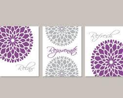 BATHROOM DECOR Bathroom Wall Art Flower Relax Rejuvenate Refresh Purple Gray
