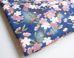 Cherry Blossom Curtain Blue by Japanese Kimono Cotton Fabric Lovely Pink White Blue Sweet