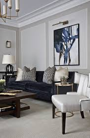 London Modern Classic Living Room Contemporary With Blue Velvet Couch Transitional Picture Lights Gray Carpet