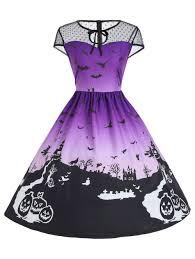 Halloween Date 2014 Nz by Halloween Mesh Insert Vintage A Line Dress Purple M In Vintage