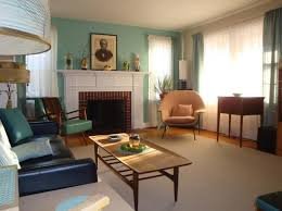 Turquoise Midcentury Living Room