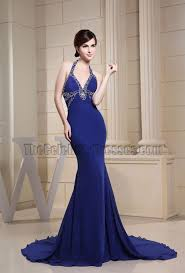 halter royal blue mermaid evening dress prom gowns with