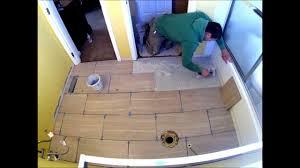 porcelain tile staggered bathroom floor installation time lapse