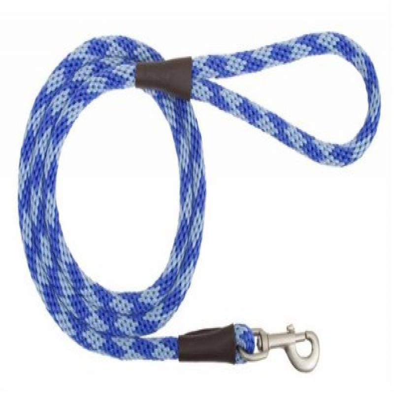 "Mendota Snap Leash - Diamond Sapphire Sky Blue/Royal Blue, 3/8""x6', Small"