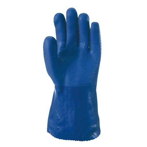 Wells Lamont Heavy Duty PVC Supported Glove with Gauntlet Cuff - Large, Blue