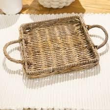 rattan tablett natur vintage rattantablett esszimmer deko landhaus shabby chic 3s