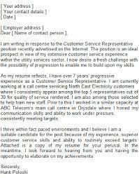 Customer Service Representative Covering Letter Sample