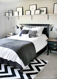 Bold Shelf Above Bed With Rustic Modern Black And White Decor So Easy Using