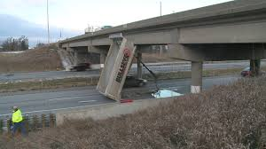 Dump Truck Hits Overpass On I-35 Near Huxley | Whotv.com
