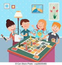 Family Playing Board Game Happy Weekend
