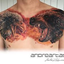 Bear And Eagle Tattoo On Chest
