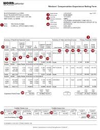 bureau workers comp experience rating form wcirb california