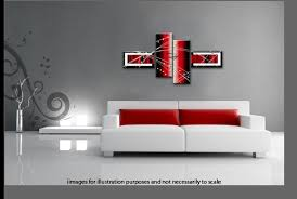 Black White Red Wide Stretch 4 Panel Abstract Canvas Wall Art Picture 146cm 57inch