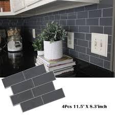 grey brick subway tile peel and stick backsplash kitchen