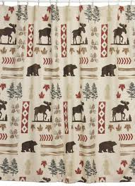North Country Shower Curtain Moose and Bear Shower Curtain lodge