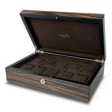 Dresser Valet Watch Box by Rapport London Macassar Wood Ten Watch Box Storage Allurez