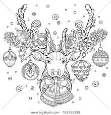 Christmas Magic Composition In Doodle Style Floral Ornate Tribal Decor Design Elements