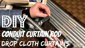 Electrical Conduit Curtain Rods by Diy Conduit Curtain Rod No Sew Drop Cloth Curtains Youtube